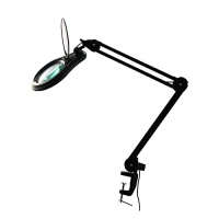 ESD PRO LED Magnifying Lamp - Full Spectrum Daylight Bright Magnifier Glass Lighted Lens - Adjustable Swivel Arm Utility Clamp Light for Desk Table Task Craft or Work Bench Black 8 Diopter 3X Photo
