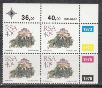 RSA 1988 5TH Definitive 40C Control Block of 4 Stamps Cylinder 1973-1976 Dated 1988-09-01 Photo