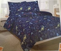 8 Piece Full Navy Blue Dinosaur Comforter and Sheet Set Bed in a Bag with Bonus Stuffed Animal Photo
