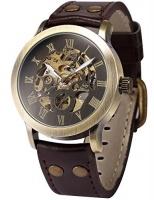 AMPM24 Men's Steampunk Bronze Skeleton Self-Winding Auto Mechanical Leather Wrist Watch PMW198 Photo