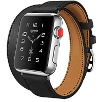 iBazal Apple Watch Series 3 Band 38mm [Dual Loop] Leather Band Genuine Leather Replacement Band for Apple Watch Series 3 & Series 2 & Series 1 - Black 38mm Photo