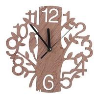 HEART SPEAKER Modern 3D Wooden Tree and Bird Wall Clock Analog Living Room Home Office Decor Photo