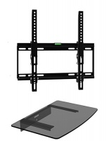 """Mount Plus 322STEDV Ultra Low Profile LCD LED Plasma TV Tilt Wall Mount with One Glass Shelf of Cable Box DVD Player Stereo Components for Most 26"""" to 46"""" LCD LCD of SONY Samsung Vizio Toshiba Panason Photo"""