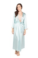 TexereSilk Women's Luxury Long Silk Bathrobe Top Gifts for Girlfriend Daughter Fiancee WS0102-DVB-SM Photo