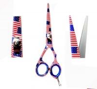 "ZZZRT traders ZZZRT J2 Japanese Steel American Flag Design Professional Razor Edge Titanium Hairdressing Scissor/Shear 5.5"" FREE Cover Photo"