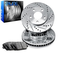 R1 Concepts 2012-2014 Fiat 500 Front eLine Drilled Slotted Brake Disc Rotors & Ceramic Pads Photo