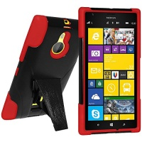Amzer Double Layer Hybrid Case Cover with Kickstand for Nokia Lumia 635/630 - Retail Packaging - Black Photo