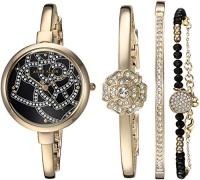 AK Anne Klein Anne Klein Women's AK/2844GBST Swarovski Crystal Accented Gold-Tone Mesh Bracelet Watch and Bangle Set Photo