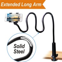 GloryBear Cell phone Lazy Mount Holder DIY Rotating Cellphone Bracket Stand with Solid Steel and Flexible Long Arm Clip for Desk Bed Bedside to Hold iPhone and Universal Mobile Phone 31.5-In - White Photo