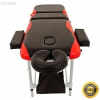 "COLIBROX --Aluminum 3 Fold 84""L Portable Massage Table Facial SPA Bed W/Free Carry Case Material: Synthetic Leather & Aluminum Color: Black with Red Edge Particularly designed into 3-section folding Photo"