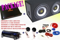 Audiobank Audiotek COMPLETE PACKAGE! Audiobank P1400.2 2 Channels Amplifier Audiotek AT-212WS Speakers Audiobank AB-Tw210 Tweeters Pro Installation Kit Cables Audiobank 2.2 Farad Power Capacitor Photo