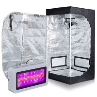 Hongruilite Full Spectrum 300W LED Grow Light 24''x24''x48'' 600D High Reflective Mylar Grow Tent with Observation Window and Metal Corner Indoor Hydroponic System Kits Photo