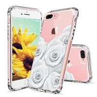 MOSNOVO iPhone 7 Plus Case iPhone 7 Plus Case for Girls White Roses Floral Flower Clear Design Transparent Plastic Hard Back with TPU Bumper Protective Case Cover for Apple iPhone 7 Plus Photo