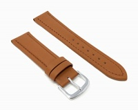 JP Leatherworks Mens Genuine Italian Leather Watchband Chronograph Style Black 20mm Long Watch Band - by Photo