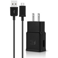 Samsung Galaxy Tab S2 8.0-inch Adaptive Fast Charger Micro USB 2.0 [1 Wall Charger 5 FT Micro USB Cable] AFC uses dual voltages for up to 50% faster charging! - BLACK - Bulk Packaging Photo