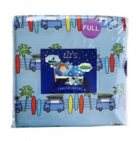 ZZZS Van with Surf Boards and Palm Trees Blue 4 Piece Full Sheet Set Photo