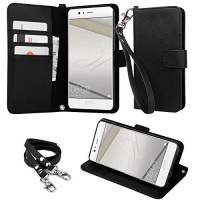 """wisers HUAWEI P10 Plus VKY-AL00 5.5"""" 5.5-inch cell phone Wallet Case Book Design with Hand Strap Neck Strap Card Slots and Kick Stand Dark Blue Photo"""