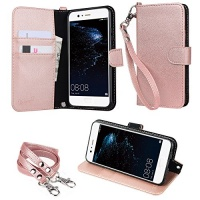 """wisers HUAWEI P10 VTR-L29 5.1"""" 5.1-inch cell phone Wallet Case Book Design with Hand Strap Neck Strap Card Slots and Kick Stand Dark Blue Photo"""