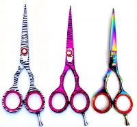 "ZZZRT traders ZZZRT High Quality J2 Japanese Steel Professional Razor Edge Pink Zebra Hairdressing Barber Salon Scissors/Shears Set 5.5"" & 4.5"" Photo"