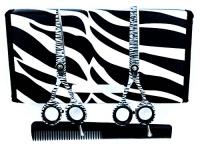 "ZZZRT tarders ZZZRT White Zebra Japanese J2 Stainless Steel Pro Razor edge Barber Hair cutting scissors shears Barber Thinning Scissors Shears 5.5""& 5.5"" with Comb Free scissors Lubricant & scissors i Photo"