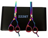 "ZZZRT tarders ZZZRT ZR-3000 J2 Japanese Steel Professional Razor Edge Titanium Hairdressing Scissors and Hair Thinning Scissors/Shear Set 5.5"" Diamond Screw Free Rexine Scissors Case Photo"