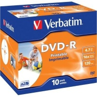 Verbatim AZO Printable 16x DVD-R 10 Pack in Jewel Cases Photo