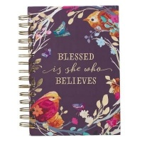 Christian Art Gifts Inc Blessed Is She Large Wirebound Journal in Eggplant Photo