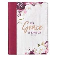 Christian Art Gifts Inc His Grace is Enough Handy-sized Faux Leather Journal - 2 Corinthians 12:9 Photo