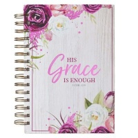 Christian Art Gifts Inc His Grace is Enough Large Wirebound Journal in Pink Plums - 2 Corinthians 12:9 Photo