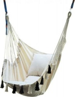 Fine Living Elba Hammock Chair with Black and White Tassles Photo