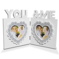 Fine Living Wooden Heart Double Frame Photo