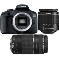 Canon EOS 2000D Digital SLR Camera Double DC Kit - EF-S 18-55mm IS 2 and EF 75-300mm f/4-5.6 2 Photo