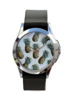 Just for Me Black Strap Analog Picture Watch - Fresh Pineapple Multicoloured Photo