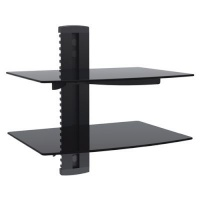 Brateck DVD-212B Aluminum & Tempered Glass Double Shelves - Up to 8kg Photo