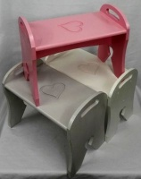 Abi-Rose Wooden Toddler Stool - Pink Heart Photo