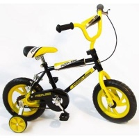 "Peerless BMX Bicycle with Training Wheels 12"" - Yellow and Black Photo"