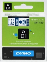 Dymo D1 Standard 9mm x 7m Blue on White Label Cassette Photo