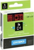 Dymo D1 Standard 9mm x 7m Black on Red Label Cassette Photo