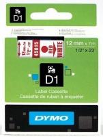 Dymo D1 Standard 12mm x 7m Red on White Label Cassette Photo