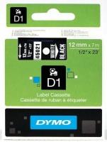 Dymo D1 Standard 12mm x 7m White on Black Label Cassette Photo