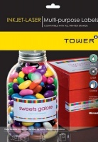 Tower W120 Multi-Purpose Inkjet-Laser Labels - Box of 100 Sheets Photo
