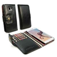 Samsung Tuff-Luv Alston Craig Vintage Genuine Leather RFID Wallet Case Cover for Galaxy S6 Edge - Brown Photo