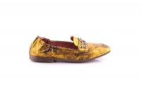 Women's Gold Leather Ballerina Loafer Photo