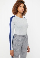 Women's ONLY Ida Long Sleeve Panel Pullover Knit - Grey Melange Photo