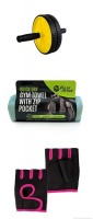 AB Wheel and Gym Towel with Pink Gloves Photo