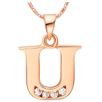 """Unexpected Box Rose Gold Letter """"U"""" Necklace Photo"""