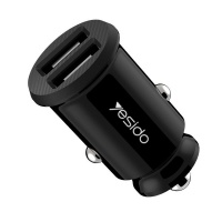 Yesido Y29 Portable Mini Dual USB Car Charger With Lightening USB Cable Photo