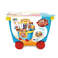 33 Pieces Kids Pretend Barbeque Trailer Playset on Wheels Photo