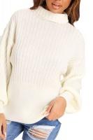 I Saw it First - Ladies Cream Balloon Sleeve Rib Knit Jumper Photo