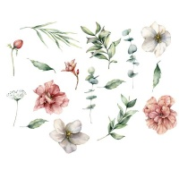 AOOYOU Pink And White Flowers with Leaf Branches Art Sticker for Wall Decoration Photo